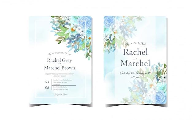 Conjunto de invitación de boda floral azul con hermosas flores