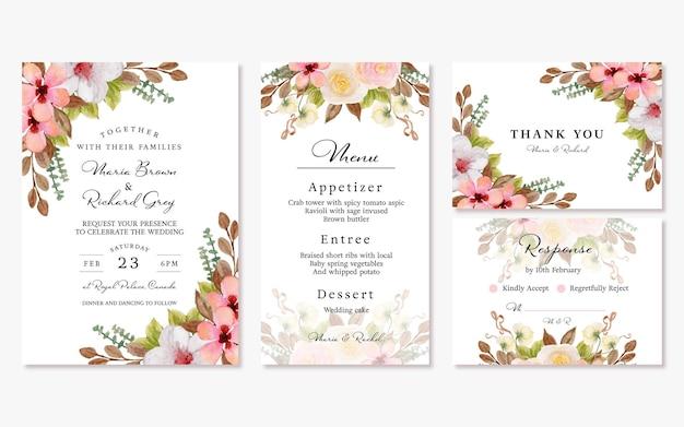 Conjunto de invitación de boda floral colorida con hermosas flores en colores pastel