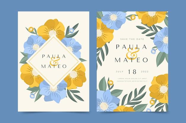 Conjunto de invitación de boda floral dibujado a mano