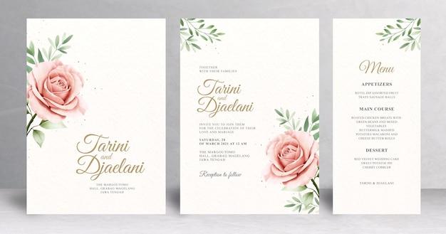 Conjunto de invitación de boda floral mínima