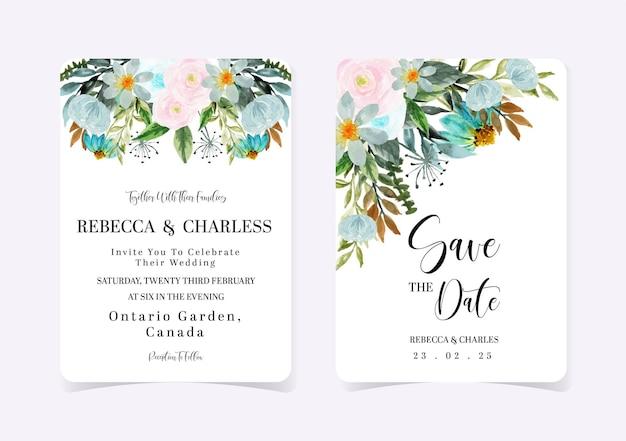 Conjunto de invitación de boda floral rosa y azul