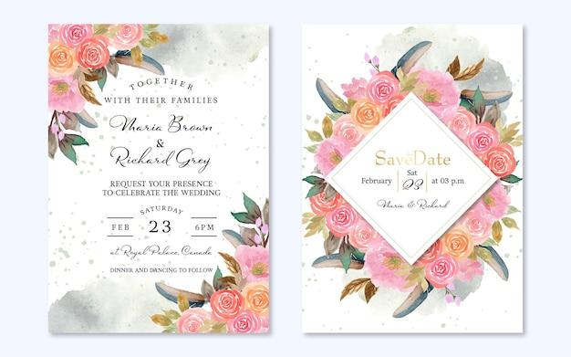 Conjunto de invitación de boda floral rosa con pluma y fondo abstracto