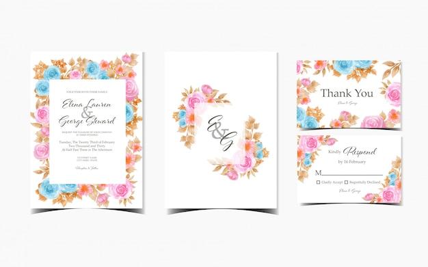 Conjunto de invitación de boda floral con rosas coloridas