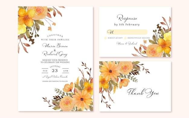 Conjunto de invitación de boda floral rústico amarillo