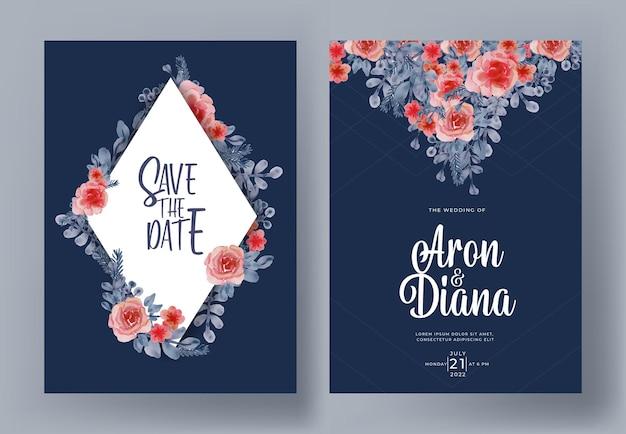 Conjunto de invitación de boda de flores y hojas de acuarela