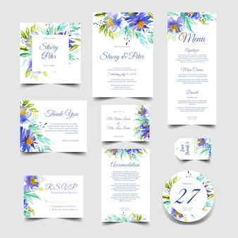 Conjunto de invitación de boda lindo de acuarela azul