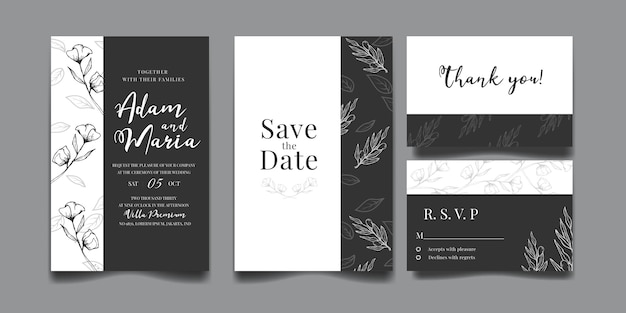 Conjunto de invitación de boda de lujo moderno contorno floral dibujado a mano