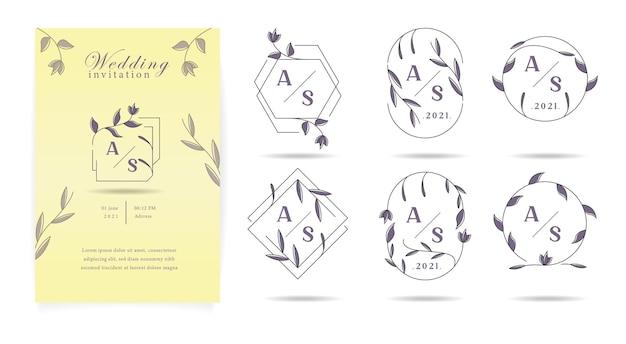 Conjunto de invitación de boda con marco de flores