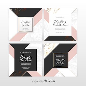 Conjunto de invitación de boda de mármol