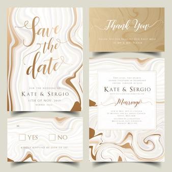 Conjunto de invitación de boda de oro y pastel de mármol