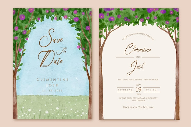 Conjunto de invitación de boda con paisaje de acuarela flores rosas moradas fondo de árbol templaten