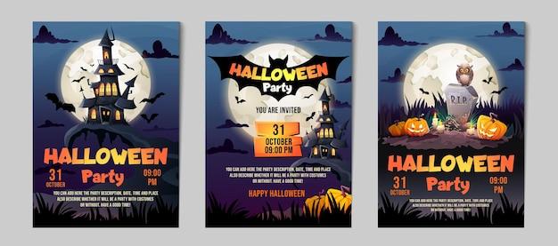 Conjunto de invitación de fiesta de halloween. tarjetas de felicitación casa encantada, castillo oscuro, tumba y luna llena.