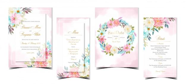 Conjunto de invitación hermosa boda abstracta con flores de colores