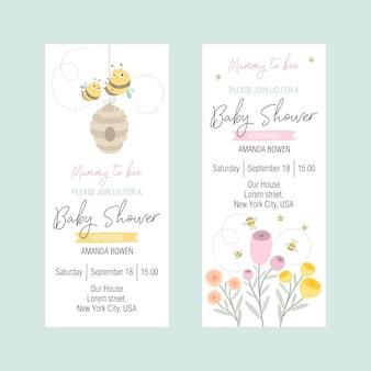 Conjunto de invitaciones a un baby shower con una linda abeja