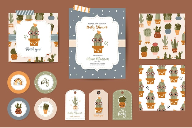 Conjunto de invitaciones de baby shower, tarjetas de agradecimiento, etiquetas y patrones sin fisuras. plantillas con lindos cactus para bebés varones
