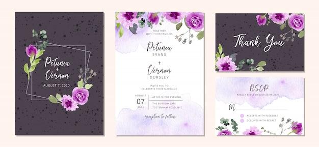 Conjunto de invitaciones de boda con flores de color púrpura y salpicaduras de acuarela