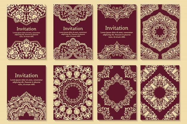 Conjunto de invitaciones de boda y tarjetas de anuncio con adornos en estilo árabe.