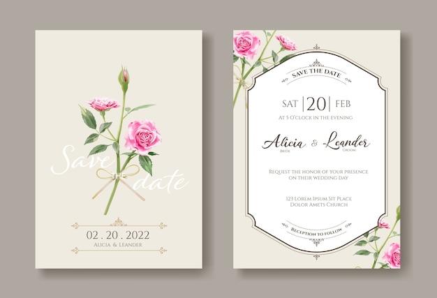 Conjunto de invitaciones de boda vintage, guarde la plantilla de fecha. rosas rosadas