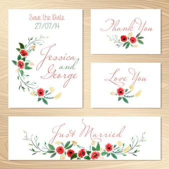 Conjunto de invitaciones de la boda