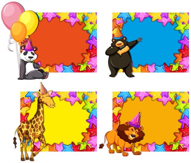 Conjunto de invitaciones de fiesta de animales.