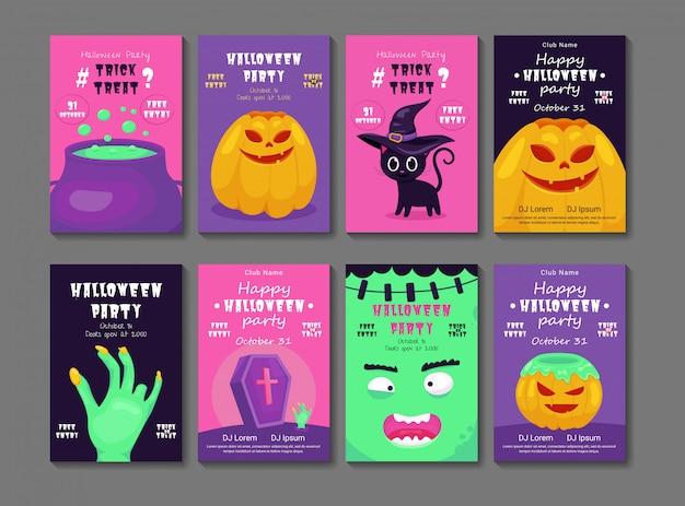 Conjunto de invitaciones de fiesta de halloween o tarjetas de felicitación