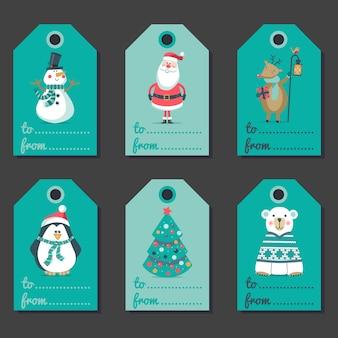 Conjunto de invitaciones navideñas.