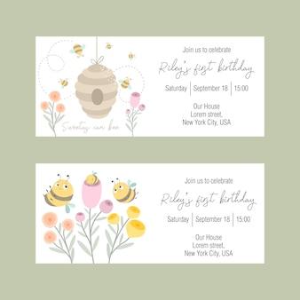 Conjunto de invitaciones para unas vacaciones infantiles con una linda abeja.