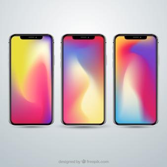 Conjunto de iphone x con fondo degradado