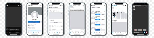 Conjunto de iphones azules con marco de plantilla para red social sobre un fondo transparente