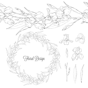 Conjunto de iris, elementos florales en blanco y negro aislado