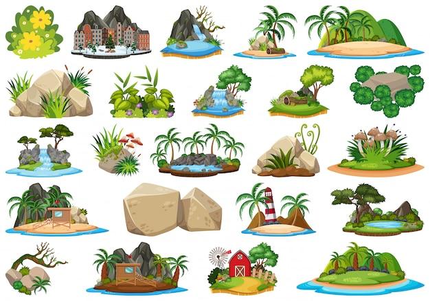 Conjunto de la isla de la naturaleza