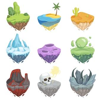 Conjunto de islas isométricas paisaje de dibujos animados con roca hielo hierba tierra volcán lava superficie