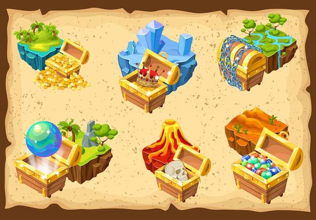 Conjunto de islas de juego y tesoros escondidos
