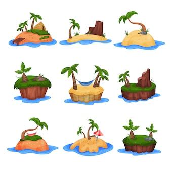 Conjunto de islas tropicales con palmeras y montañas ilustraciones sobre un fondo blanco.