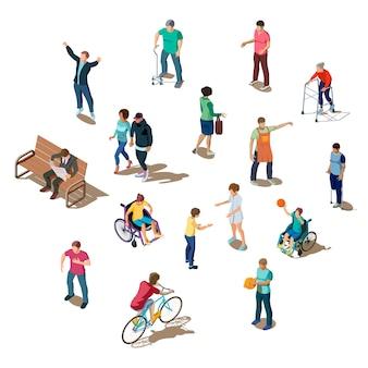 Conjunto isométrico 3d de diferentes personas realizando actividades.