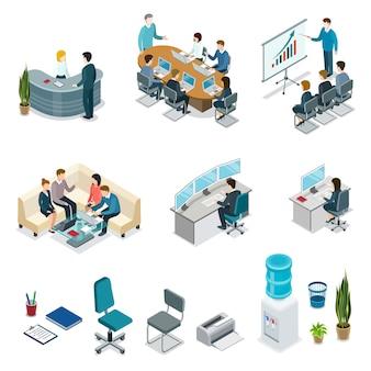 Conjunto isométrico 3d de vida de oficina corporativa