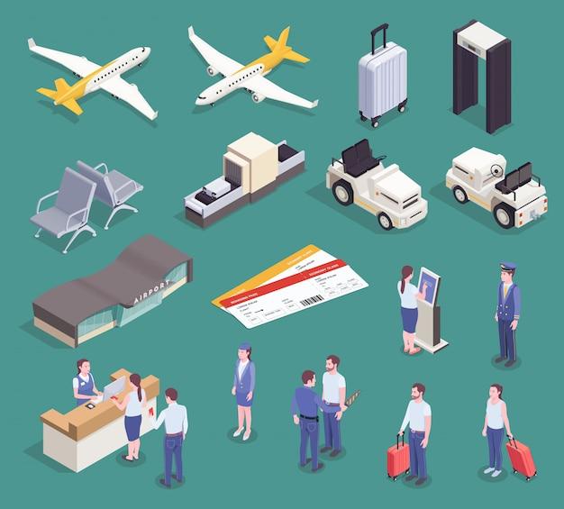Conjunto isométrico del aeropuerto con imágenes aisladas de electrodomésticos, vehículos, edificios y personajes de pasajeros y tripulación ilustración vectorial