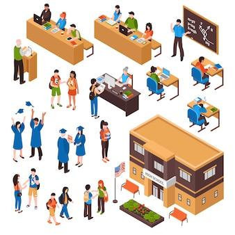 Conjunto isométrico de alumnos y profesores