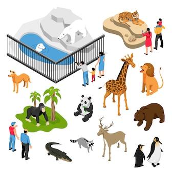 Conjunto isométrico de animales y personas durante la visita al zoológico en blanco aislado