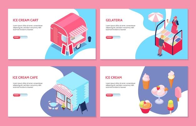 Conjunto isométrico de banners web con vendedor de café carrito de helados