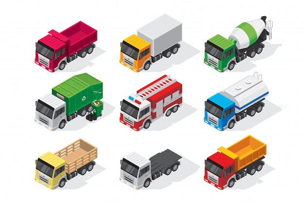 Conjunto isométrico de camiones