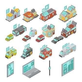 Conjunto isométrico de casas móviles que incluye dispositivos electrónicos, furgonetas y casas con remolque de tecnología iconos aislados ilustración vectorial