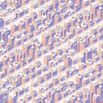 Conjunto isométrico de la ciudad 3d arquitectura moderna de la calle de la ciudad moderna mapa del patrón del plan urbano sin costuras estructura del paisaje de los rascacielos de los edificios de la ciudad mapa de ilustración vectorial para el concepto de diseño de negocios
