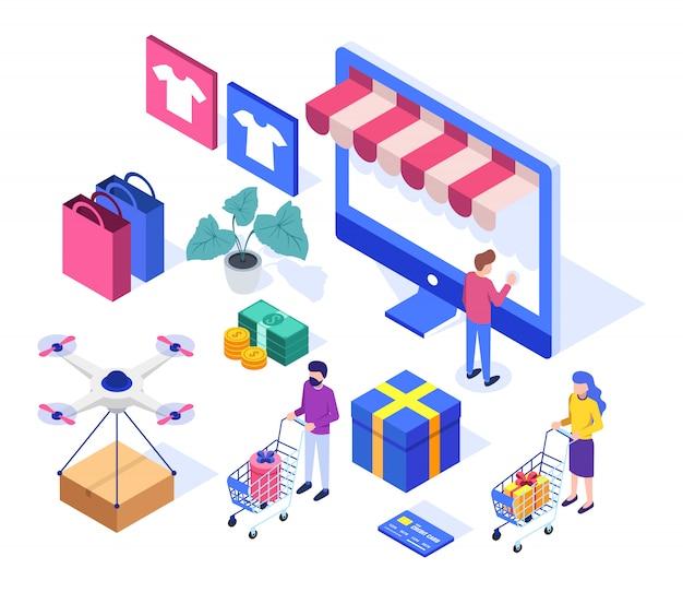 Conjunto isométrico de compras en línea.