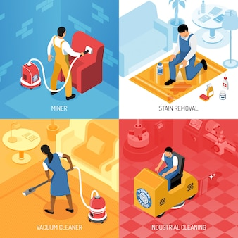 Conjunto isométrico del concepto de servicio de limpieza con pisos residenciales industriales, pulido de alfombras, manchas refrescantes, eliminación de ilustración vectorial aislado