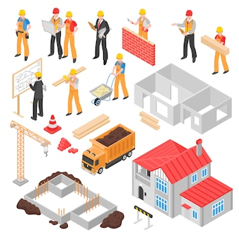 Conjunto isométrico de construcción