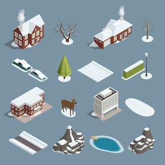 Conjunto isométrico de constructor de paisaje de invierno