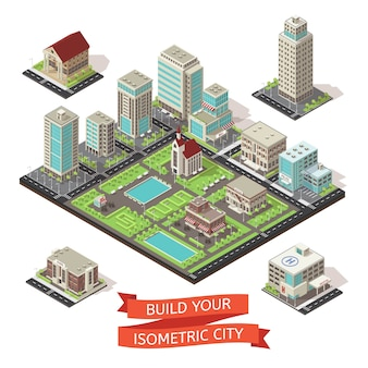 Conjunto isométrico de creación de ciudad