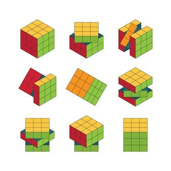 Conjunto isométrico del cubo de rubik.