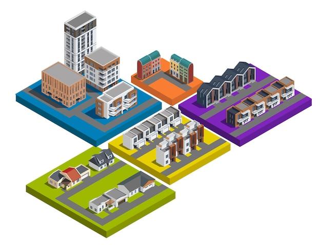 Conjunto isométrico de edificios de la ciudad suburbana de coloridas plataformas aisladas con apartamentos de poca altura y casas adosadas